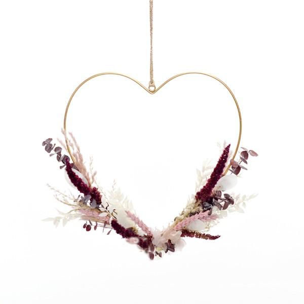 Herz Naturschönheit | gold 30 cm | Trockenblumen burgund-rosa-rot-natur