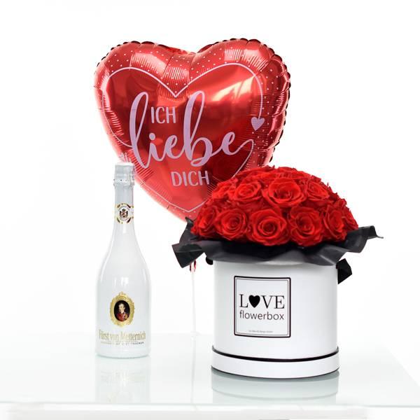 Flowerbox Set Bouquet | Large | Rosen Vibrant Red | Heliumballon |