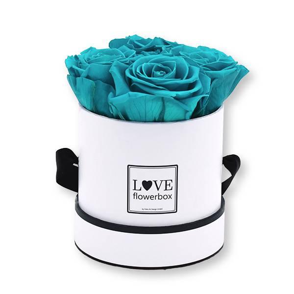 Flowerbox_rosenbox_blumenbox_rund_Small_weiss_Infinity_Rosen_aqua_tuerkis.jpg