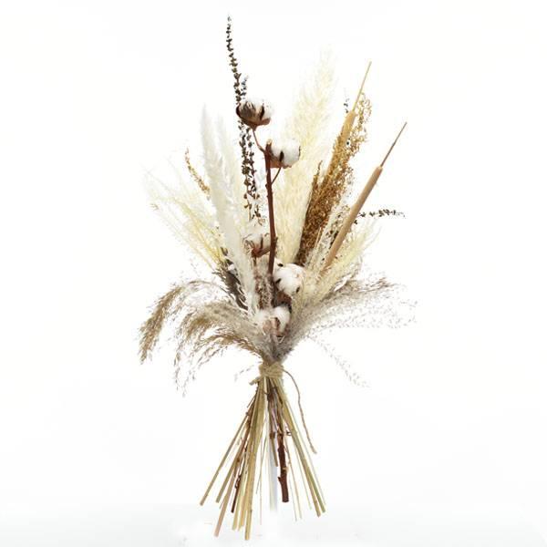 Trockenblumenstrauß Naturglück L | Trockenblumen weiss-natur-braun  | Trockenstrauss Pampas Schilfkolben Baumwolle L