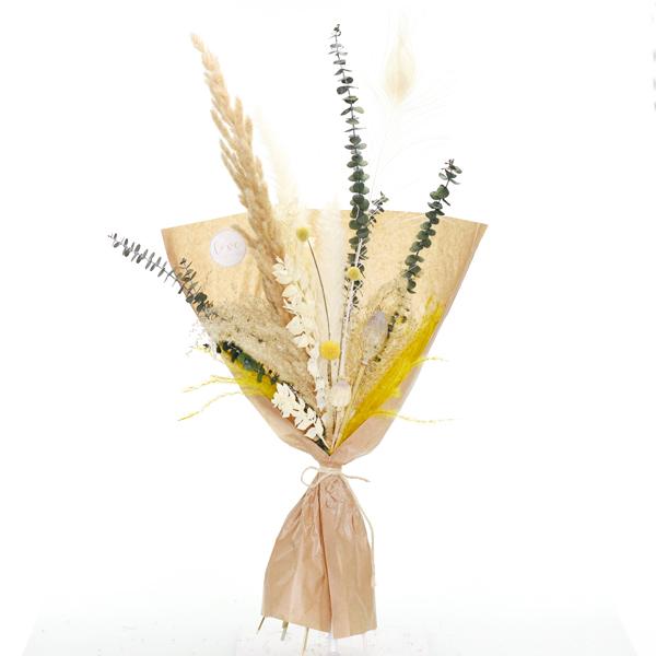 Trockenblumenstrauß Curryglück L | Trockenblumen weiss-natur-gelb-grün
