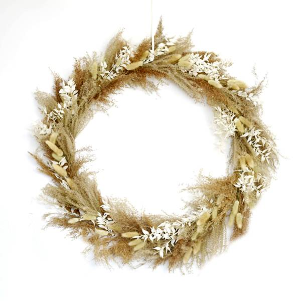 Trockenblumenkranz | Hoop | Boho Liebe | gold 50 cm | Trockenblumen weiss-natur | Pampasgras, Ruskus,Lagurus, Samtgras