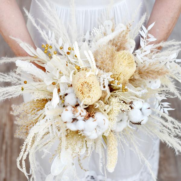 Trockenblumen Brautstrauß | Boho Traum | weiss-creme-natur