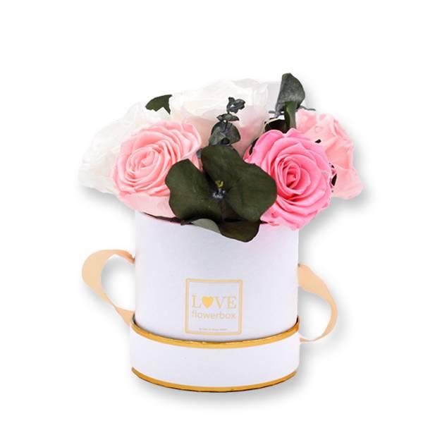 Flowerbox Modern | Small | Rosen weiss-rosa mit Eukalyptus