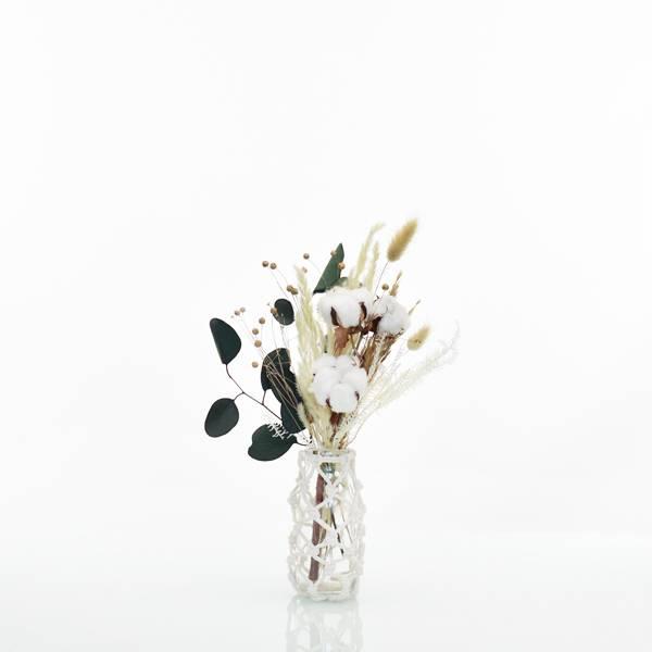 Trockenblumenstrauß Natur Pur S mit Vase Makramee S | weiss-natur-grün