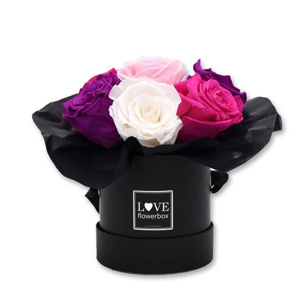 Flowerbox Bouquet | Small | Rosen weiss-rosa-pink-lila