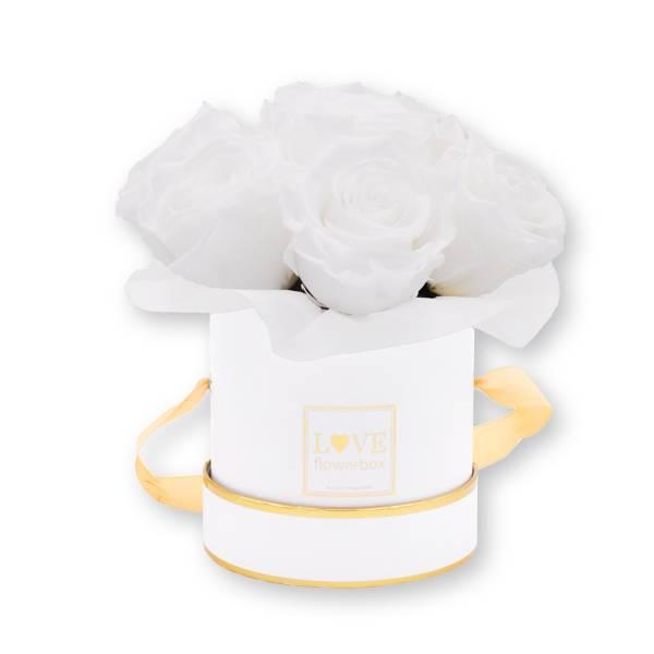 Flowerbox Bouquet gold | Small | Rosen Pure White (Weiß)