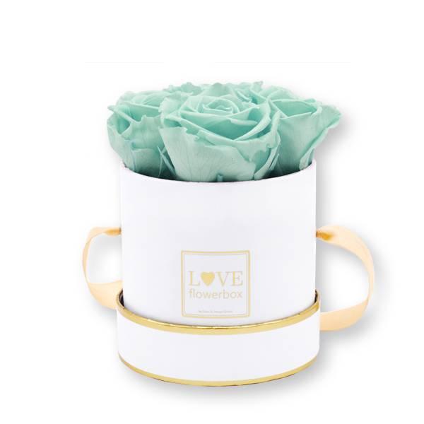 Flowerbox_rosenbox_blumenbox_rund_Small_weiss_gold_Infinity_Rosen_mintygreen_mint.jpg