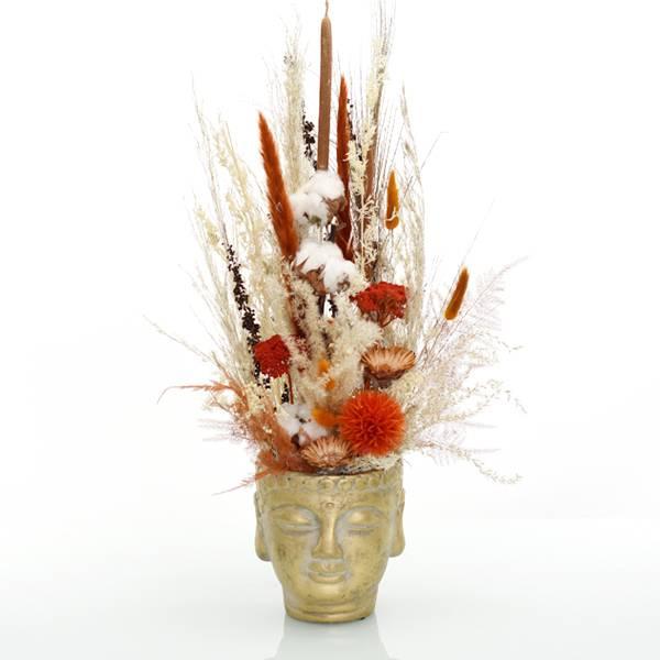 Trockenblumen Gesteck | Buddhakopf gold | Amberliebe | weiss-natur-orange-amber | Pampasgras, Baumwolle, Lagurus, Schilfkolben, Palak Stick