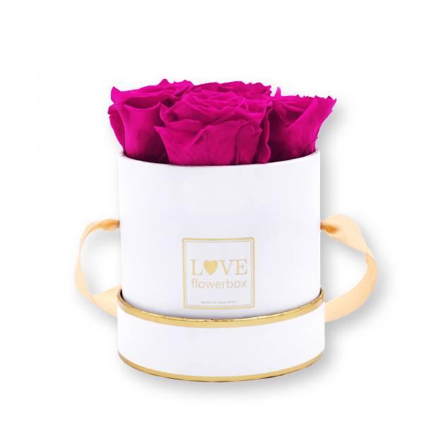Flowerbox Modern gold | Small | Rosen Hot Pink (Pink)
