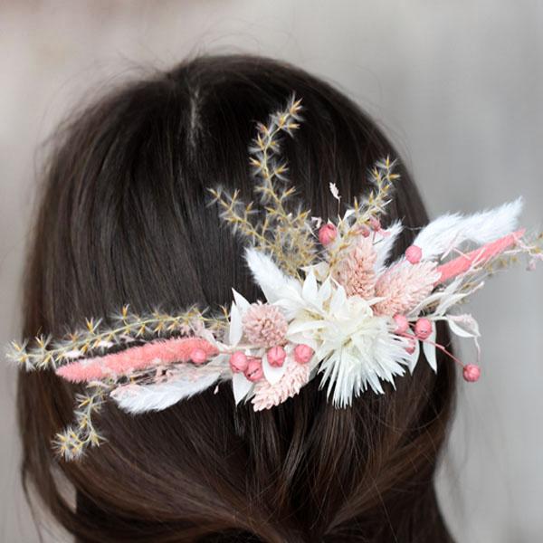 Trockenblumen Haarkamm Braut | Trauzeugin | Rosa Versuchung | weiss-rosa