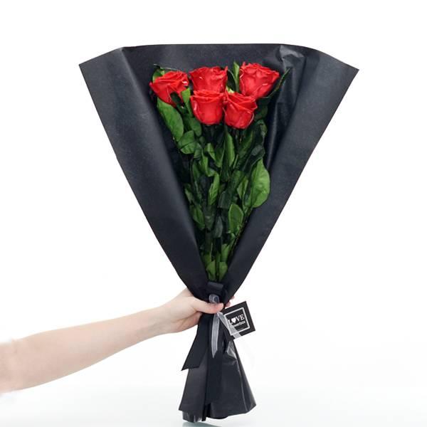 Rosenstrauß | Blumenstrauß mit 5 langstieligen Infinity Rosen | Rot