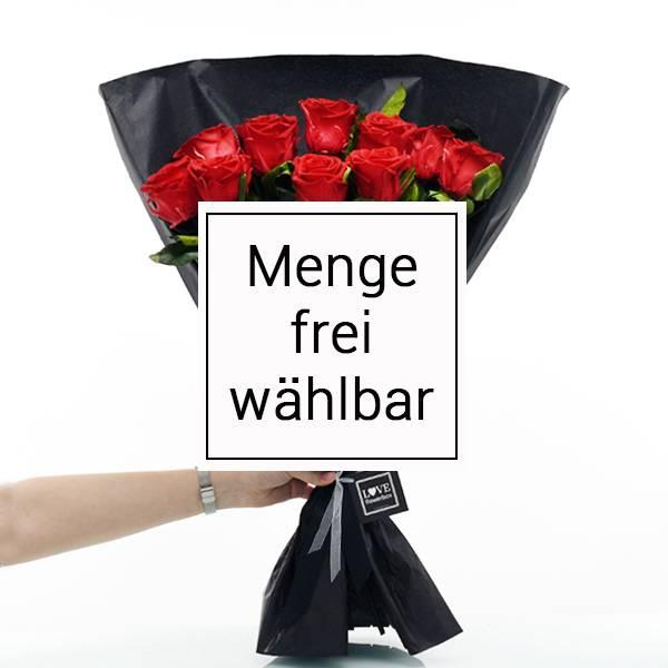 Rosenstrauß | Blumenstrauss mit Infinity Rosen | Anzahl frei wählbar | Rot | vibrant red