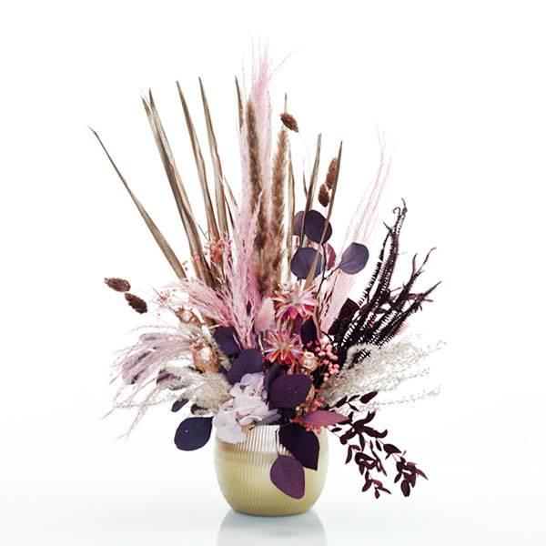 Trockenblumen Gesteck | Keramik gold | Rosegoldglanz | weiss-rosa-rosegold-burgund | Eukalpytus, Regenschirmfarn, Pampasgras, Lagurus, Samtgras, Mohnkapseln