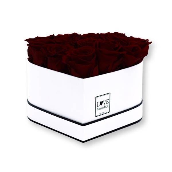Rosenbox Herz Infinity Rosen bordeaux   Flowerbox Herzbox   M white