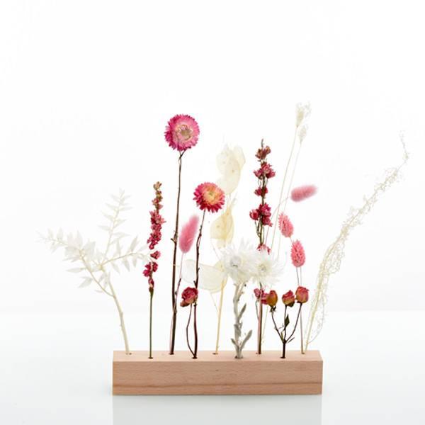 Trockenblumen | Blütenleiste | Holzleiste | zarte Verführung | weiss-natur-rosa-pink