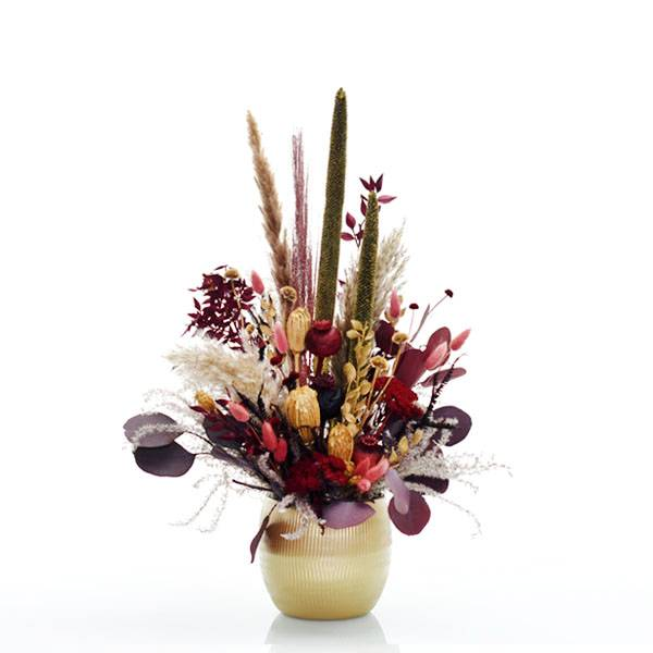 Trockenblumen Gesteck | Keramik Topf gold | Burgunder Liebe | natur-rot-burgund-bordeaux | Eukalyptus, Pampasgras, Babala, Lagurus, Ruskus, Mohnkapseln