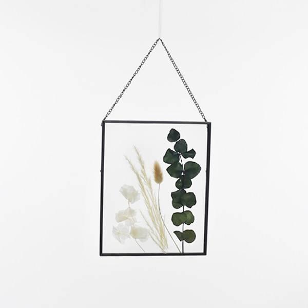 Trockenblumen Bilderrahmen mit gepressten Blumen | Eukalyptusglück | weiss-natur-grün | Eukalyptus, Lagurus, Hortensie