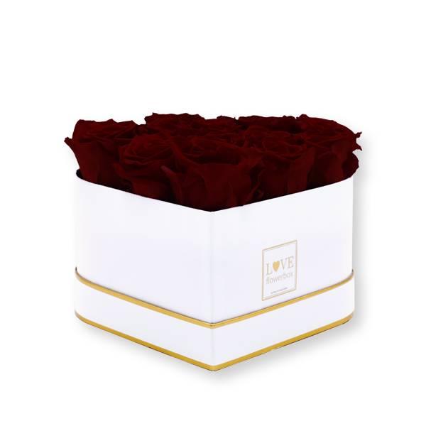 Rosenbox Herz Infinity Rosen bordeaux | Flowerbox Herzbox | M white gold