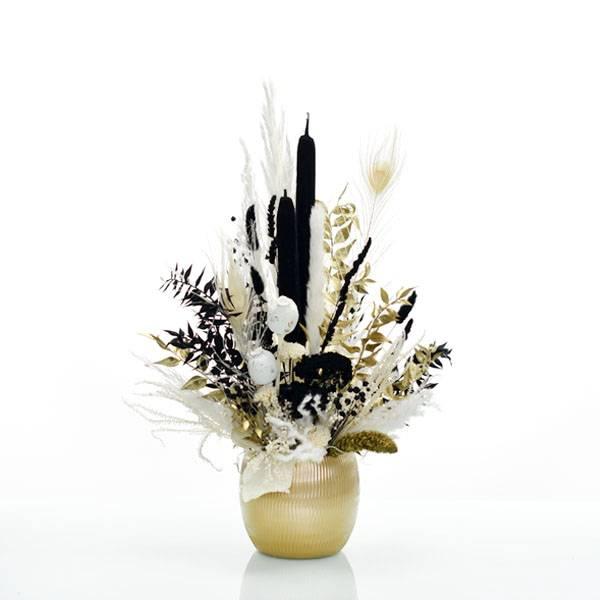 Trockenblumen Gesteck | Keramik gold | Schwarze Eleganz | weiss-schwarz-gold | Pampasgras, Ruskus, Schilfkolben, Schafgarbe, Setarea, Mohnkapslen, Lagurus Samtgras
