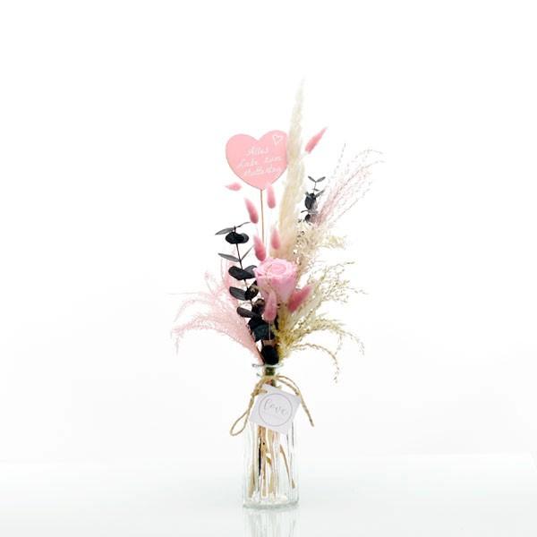 Trockenblumenstrauß Rosa Liebe mit Infinity Rose rosa Herz Muttertag und Flaschenvase
