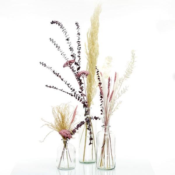 Trockenblumenstrauß Set mit 3 Flaschenvasen Naturschönheit | rosa-weiss-natur