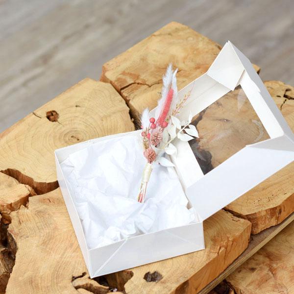 Trockenblumen Anstecker Bräutigam | Rosa Versuchung | weiss-rosa