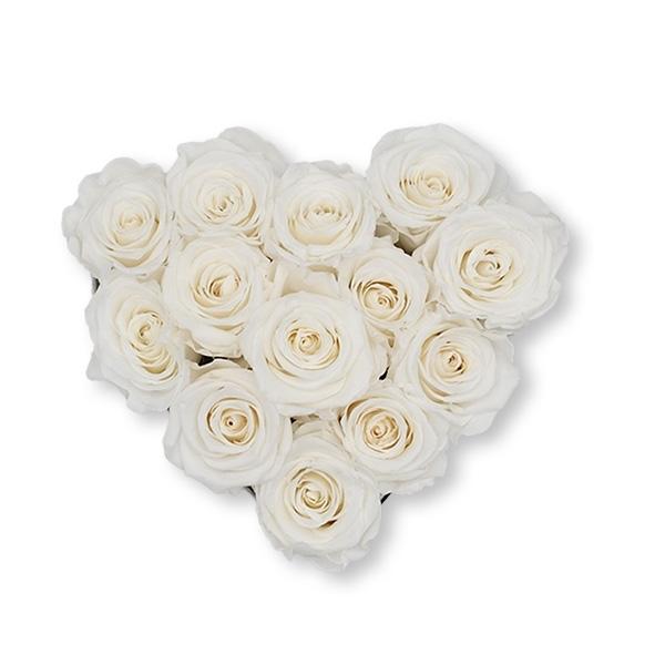 Rosenbox Herz Infinity Rosen weiss | Flowerbox Herzbox | M black