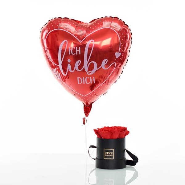 Flowerbox Set Modern   Small   Rosen Vibrant Red   Heliumballon