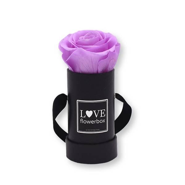 Flowerbox_rosenbox_blumenbox_rund_Mini_schwarz_Infinity_Rosen_babylili_flieder.jpg
