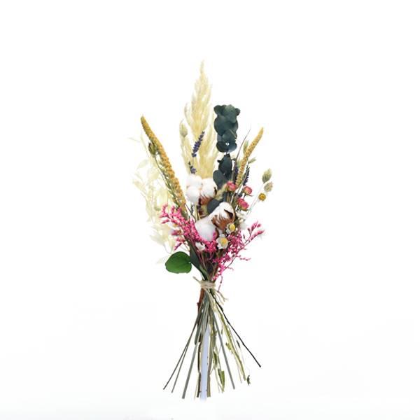 Trockenblumenstrauß Tausendschön M | | Trockenblumen natur-bunt-farbig | Pampasgras, Baumwolle, Eukalyptus