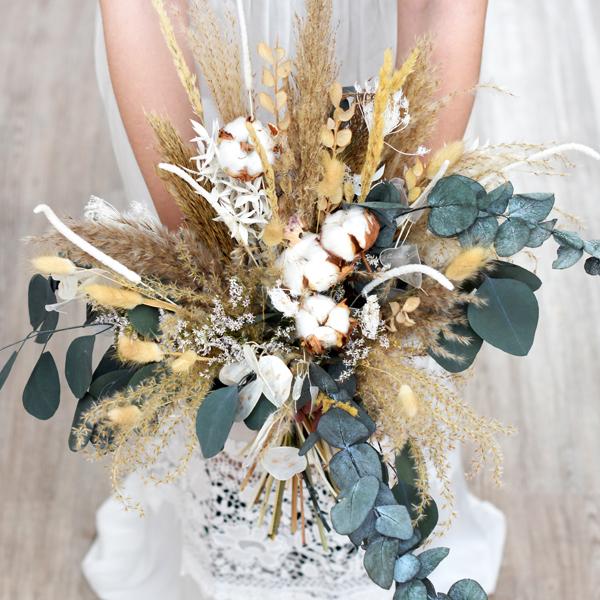Trockenblumen Brautstrauß | Natur Pur | weiss-natur-grün