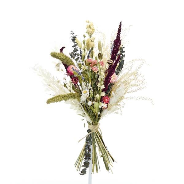 Trockenblumenstrauß Sommerliebe L | Pampasgras, Rittersporn, Strohblumen | Trockenblumen bunt-pink-lila-grün
