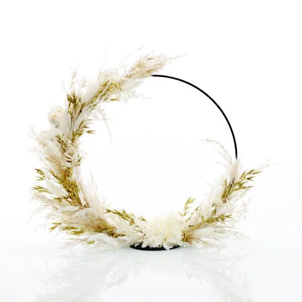 Trockenblumenkranz stehend | Goldene Eleganz | schwarz 30 cm | Trockenblumen weiss-gold