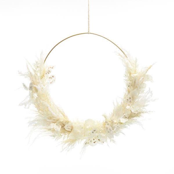 Trockenblumenkranz | Hoop | Weisse Eleganz | gold 40 cm | Trockenblumen weiss-ivory | Pampasgras gebleicht, Lunaria, Ruskus
