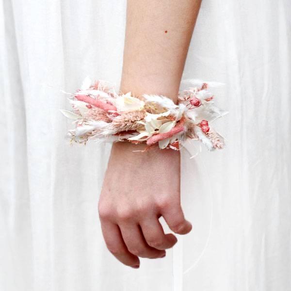 Trockenblumen Armband Trauzeugin   Brautjungfern   Hochzeit   Rosa Versuchung   weiss-rosa