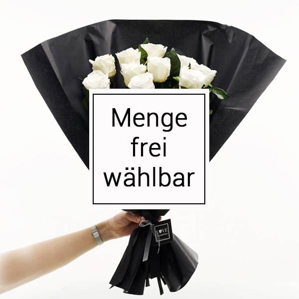 Strauß mit langstieligen haltbaren Rosen | Anzahl frei wählbar | Rosen Pure White (Weiss)