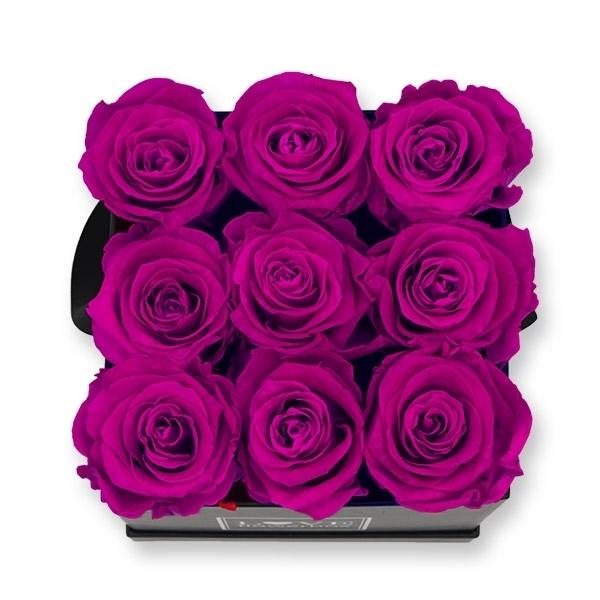 Rosenbox Infinity Rosen lila   Flowerbox eckig   M Modern black