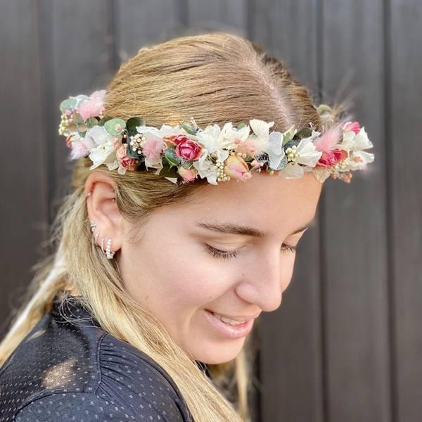 Trockenblumen Kopfkranz Braut | Trauzeugin | Zarte Liebe | weiss-rosa-pink-grün | Eukalyptus, Hortensie, Lagurus, Schleierkraut