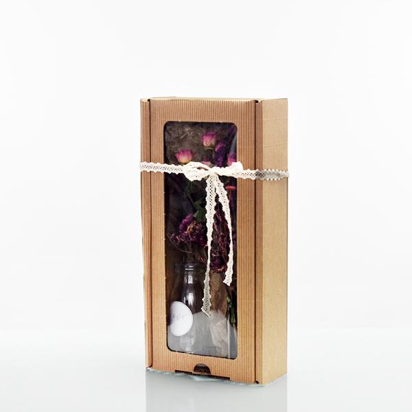 Geschenkeset mit Trockenblumenstrauß Beerenzauber | Trockenblumen rosa-pink-beere