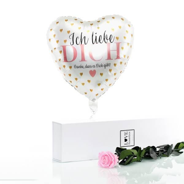 Flowerbox Set Langstiel Rose | Rosen Bridal Pink | Heliumballon
