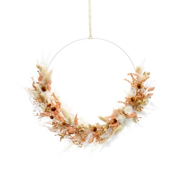 Trockenblumenkranz | Hoop | Pastellzauber | weiss 30 cm | Trockenblumen weiss-aprikot