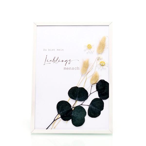 Trockenblumen Bilderrahmen weiß | Spruch Lieblingsmensch | Eukalyptus
