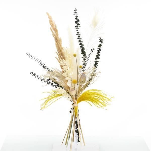 Trockenblumenstrauß Curryglück M | Trockenblumen weiss-natur-gelb-grün | Pampasgras, Eukalpytus, Craspedia