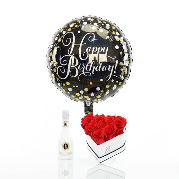 Flowerbox Set Herz   Small   Rosen Vibrant Red   Heliumballon   Piccolo