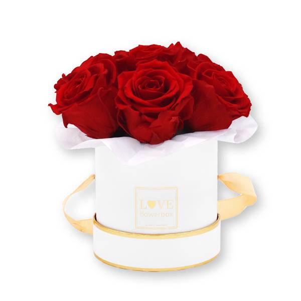 Flowerbox_rosenbox_blumenbox_rund_Small_weiss_gold_Bouquet_Infinity_Rosen_vibrantred_rot_1.jpg