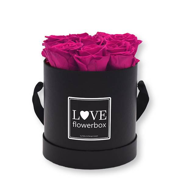 Flowerbox_rosenbox_blumenbox_rund_Medium_schwarz_Infinity_Rosen_raspberry_himbeere.jpg