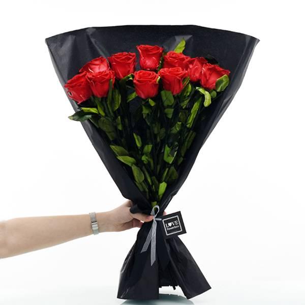 Rosenstrauß | Blumenstrauß mit 10 langstieligen Infinity Rosen | rot