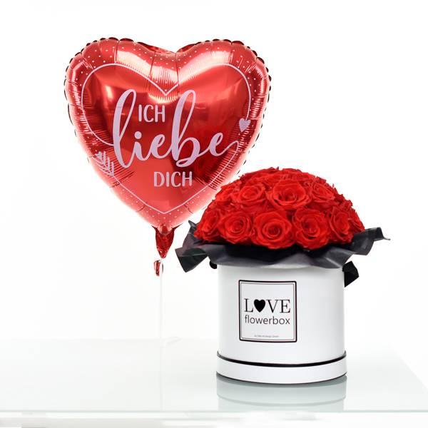 Flowerbox Set Bouquet | Large | Rosen Vibrant Red | Heliumballon