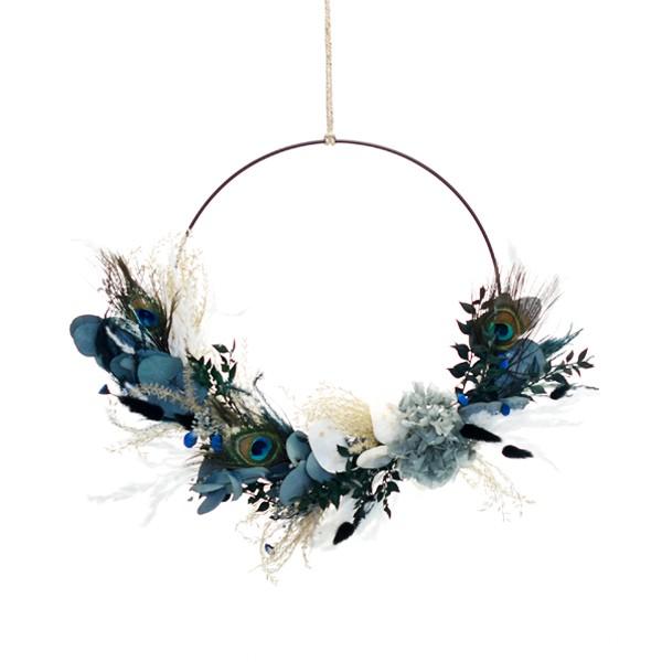 Trockenblumenkranz | Hoop | Pfauenzauber | gold 30 cm | Trockenblumen blau-grün-natur